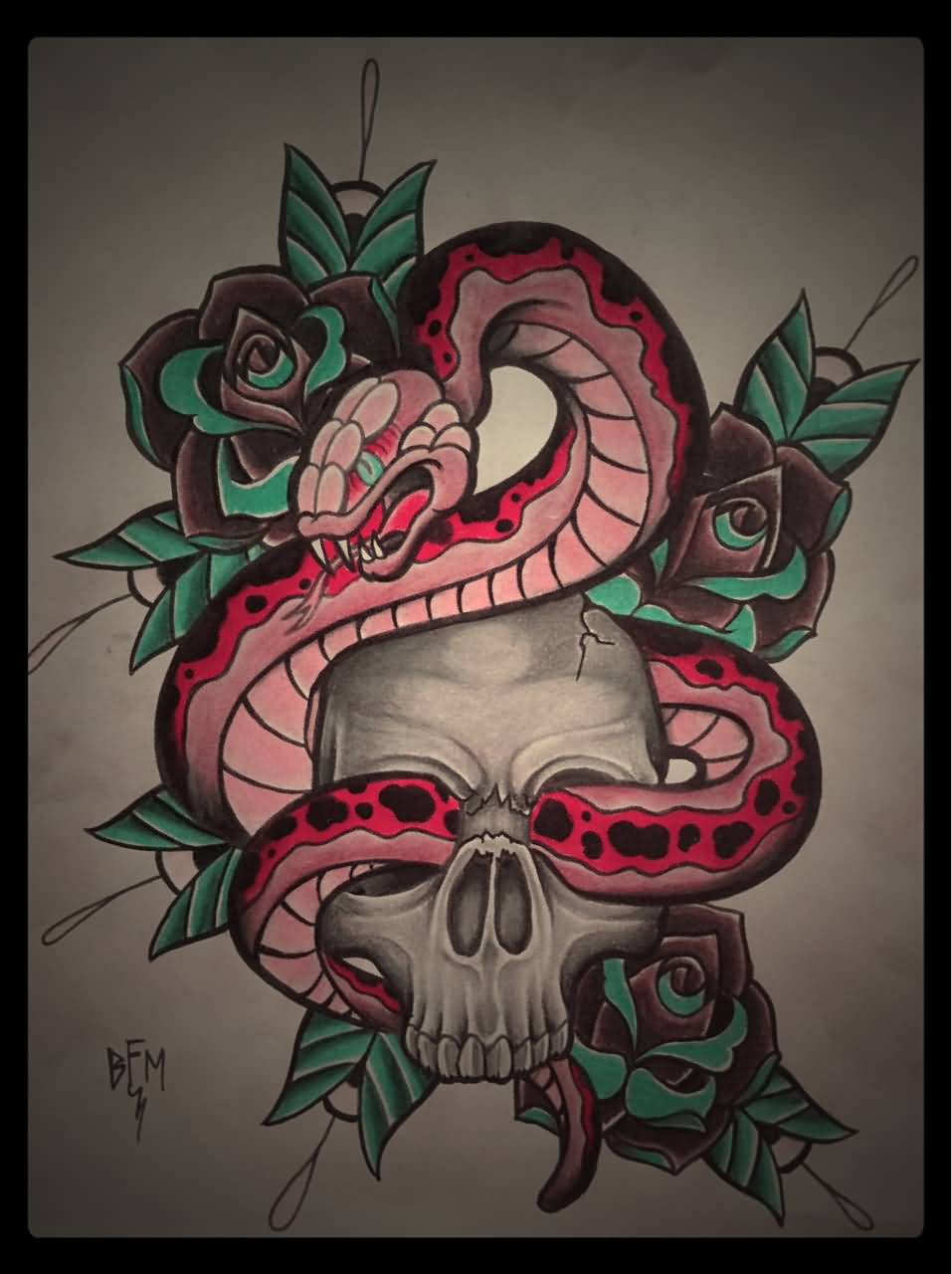 ab3440c71 Neo Traditional Snake In Skull With Roses Tattoo Design