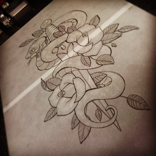 e701e64e3 Neo Traditional Snake With Sword And Roses Tattoo Design