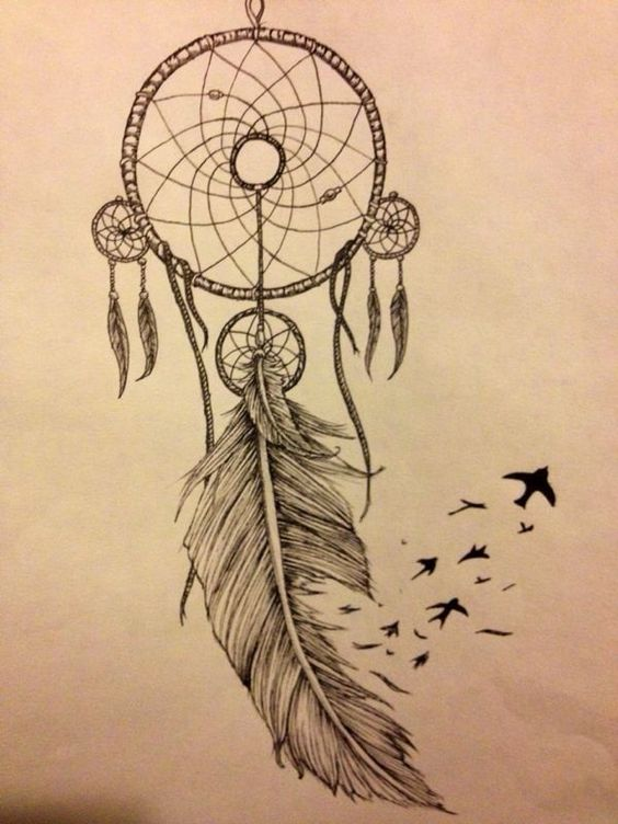 29 dreamcatcher tattoos with birds. Black Bedroom Furniture Sets. Home Design Ideas