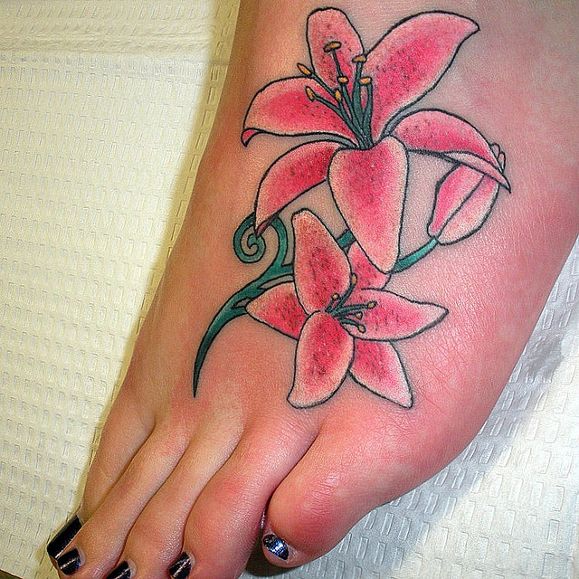 32 lily tattoos on foot for Pink ink tattoo