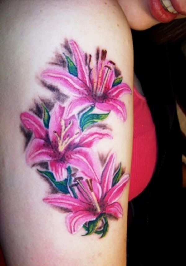 Pink Flower Tattoo: 56+ Beautiful Lily Flowers Tattoos For Girls