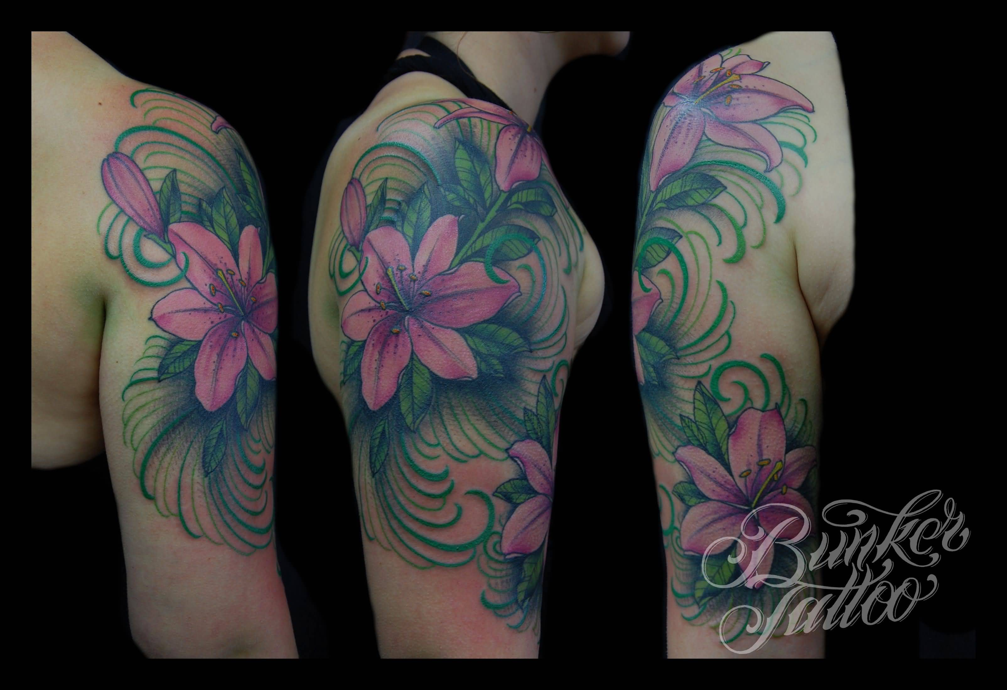 34 lily flowers tattoos on arm for Flower tattoo arm