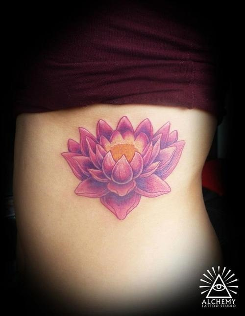 Pink ink lotus flower tattoo design for female side rib for Pink ink tattoo