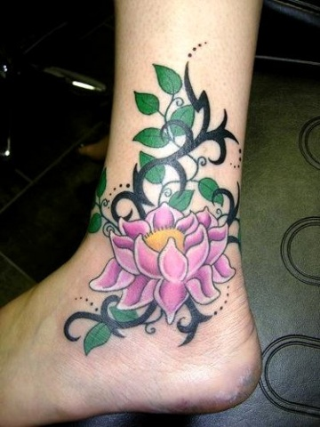 34 best lotus flower tattoos on ankle for Pink ink tattoo
