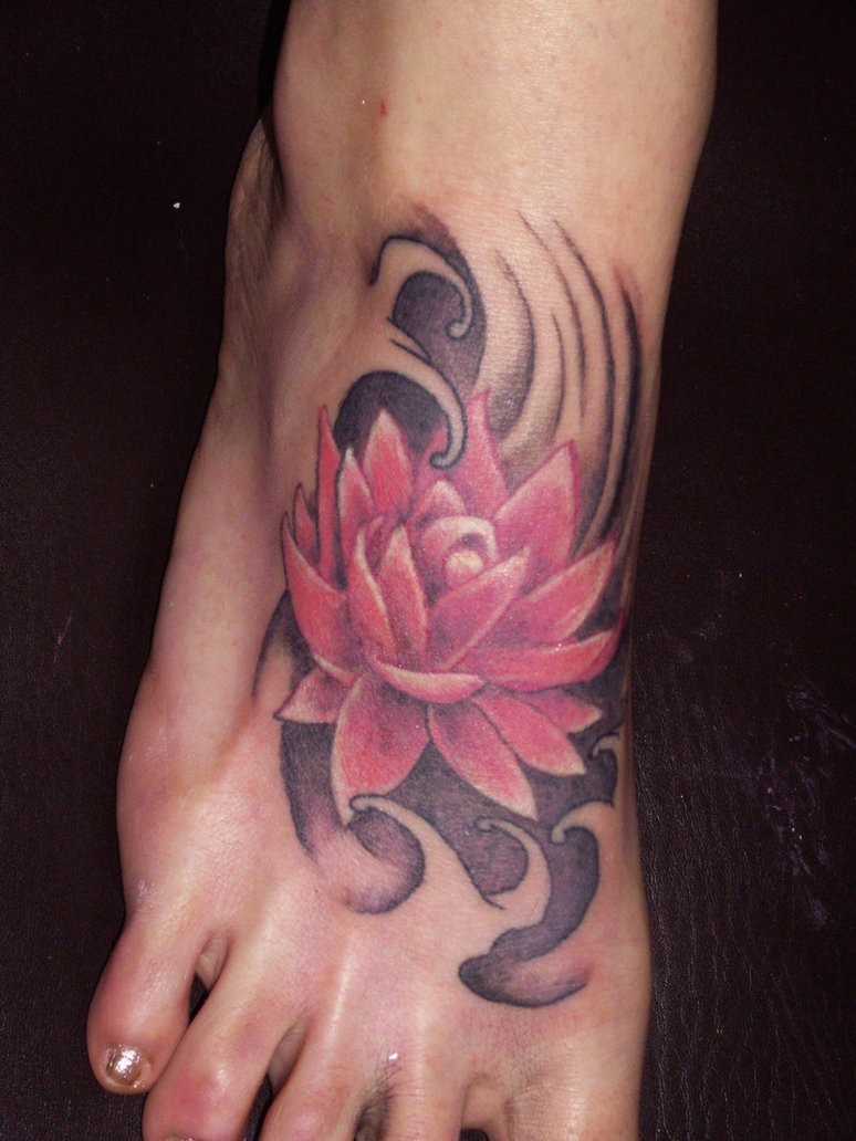 37 Lotus Tattoos On Foot