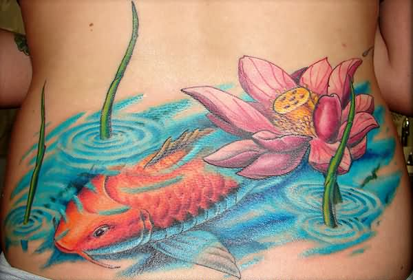 Pink ink lotus flower with koi fish tattoo on lower back mightylinksfo Choice Image
