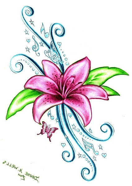 pink lily flower tattoo design
