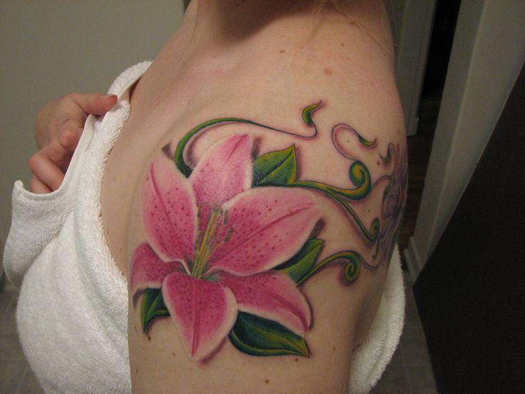 3941fddd9 Pink Stargazer Lily Tattoo On Left Shoulder