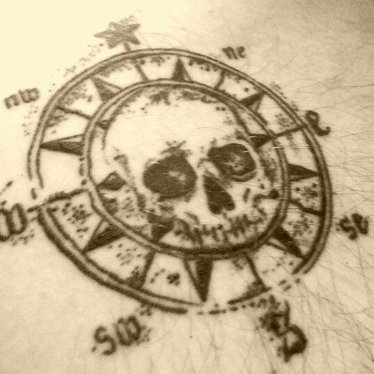 pirate skull compass tattoo design. Black Bedroom Furniture Sets. Home Design Ideas