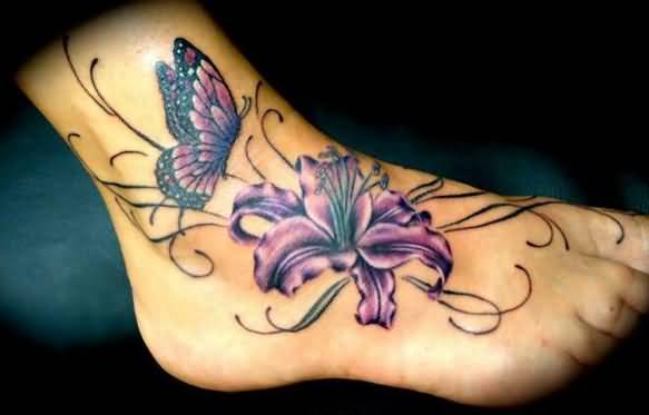 Purple Butterfly And Lily Flower Tattoo On Ankle