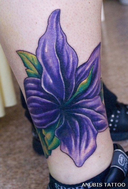183c047fe2820 Purple Ink Lily Cover Up Tattoo On Right Leg