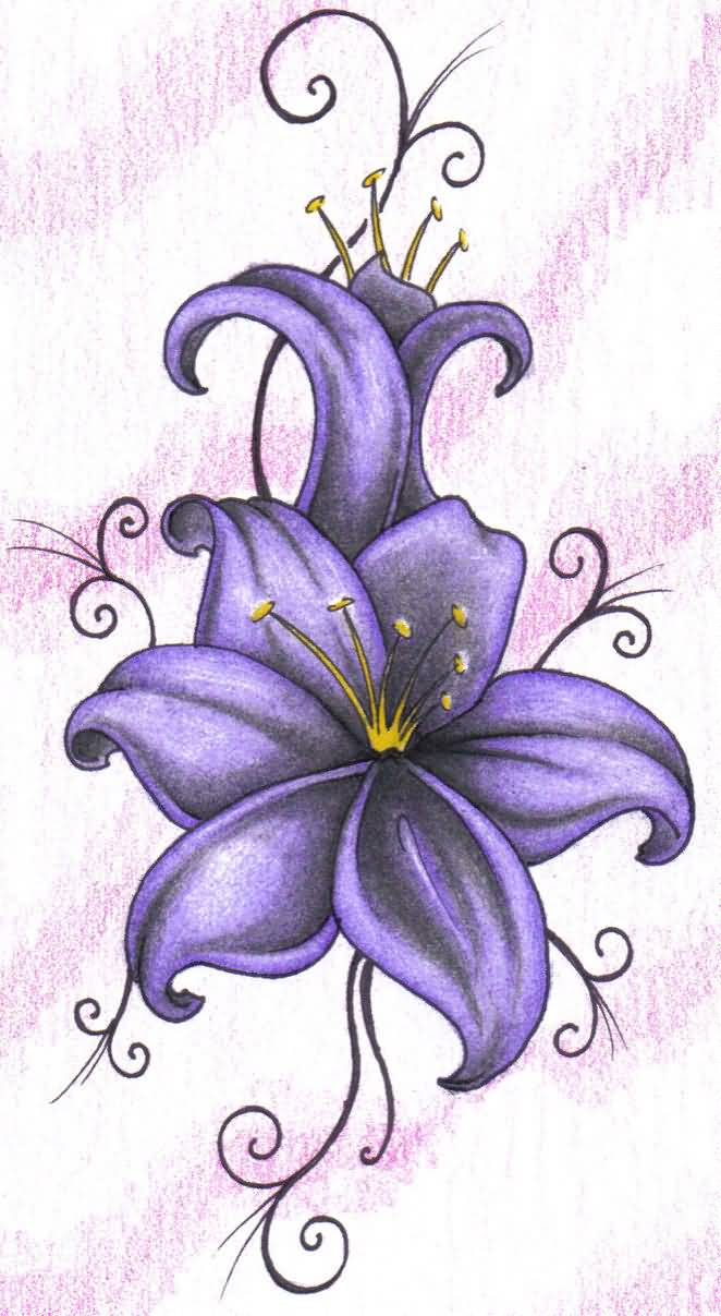 61 lily flowers tattoos collection purple ink lily flower tattoo design izmirmasajfo