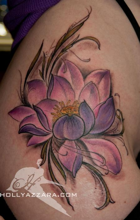 dcec3f682f85c Purple Ink Lotus Flower Tattoo On Girl Right Hip
