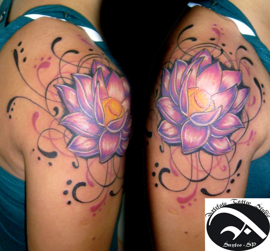 Flower Shoulder Tattoo Designs: 39+ Lotus Tattoos On Shoulder