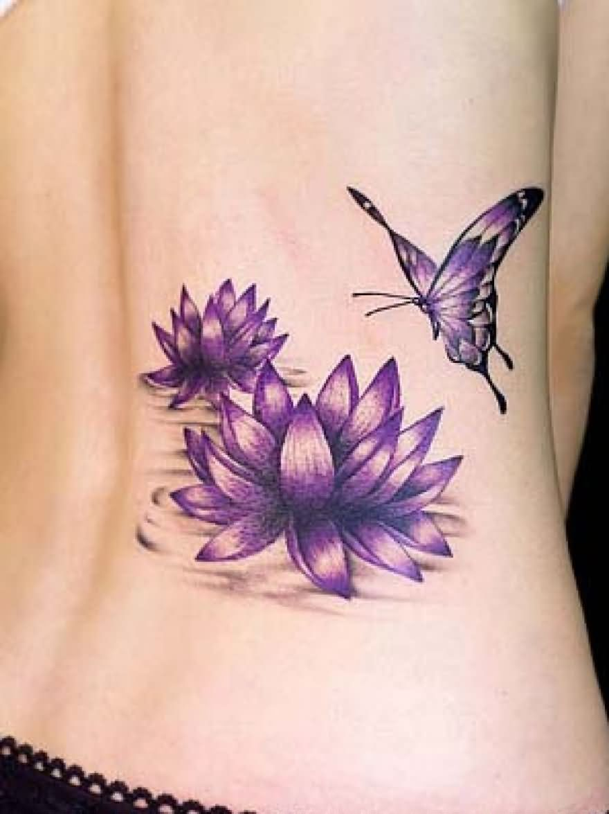 Purple Ink Lotus Flowers With Butterfly Tattoo On Lower Back