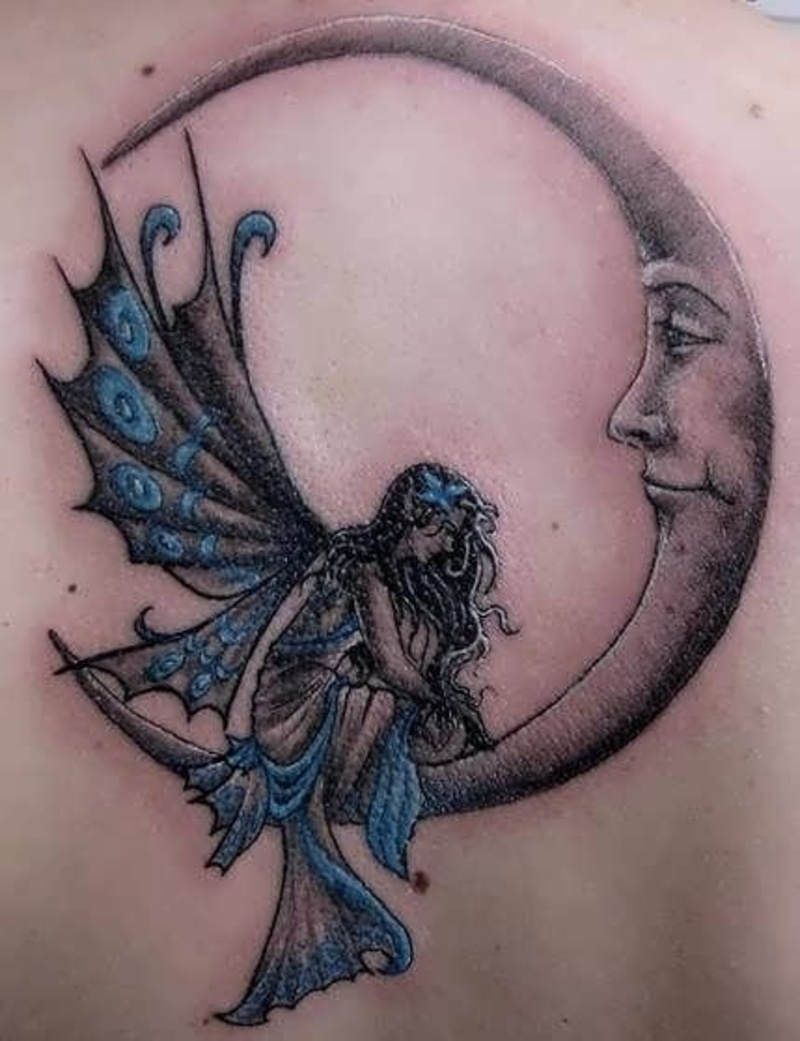 realistic fairy on half moon tattoo design for upper back. Black Bedroom Furniture Sets. Home Design Ideas