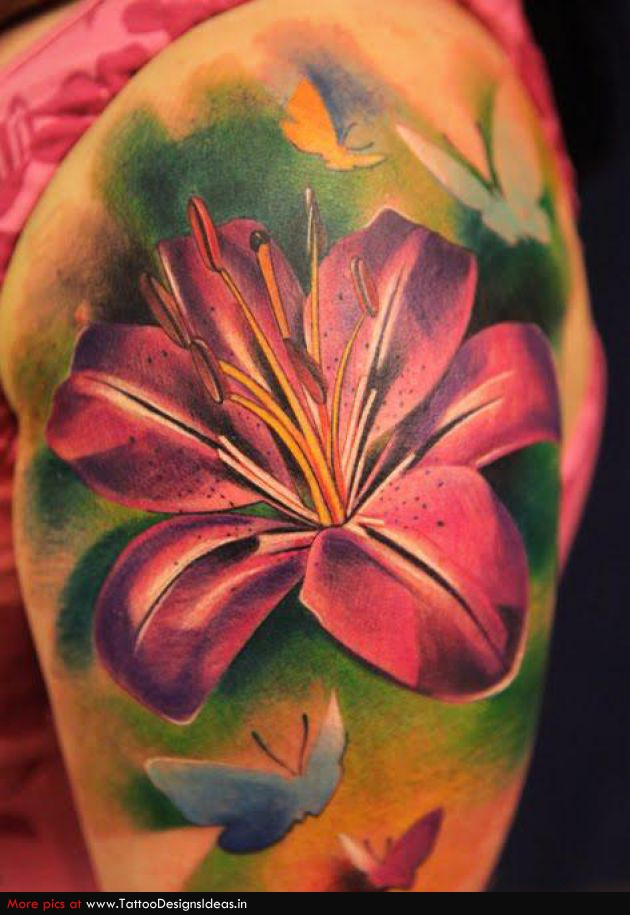 Realistic Flower Tattoos On The Right Forearm Tattoo: 61+ Lily Flowers Tattoos Collection
