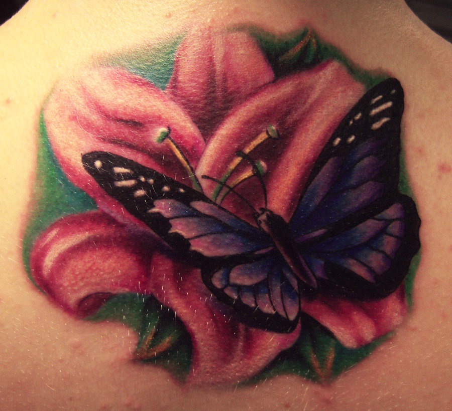Realistic lily flower with butterfly tattoo design for for Flower and butterfly tattoo