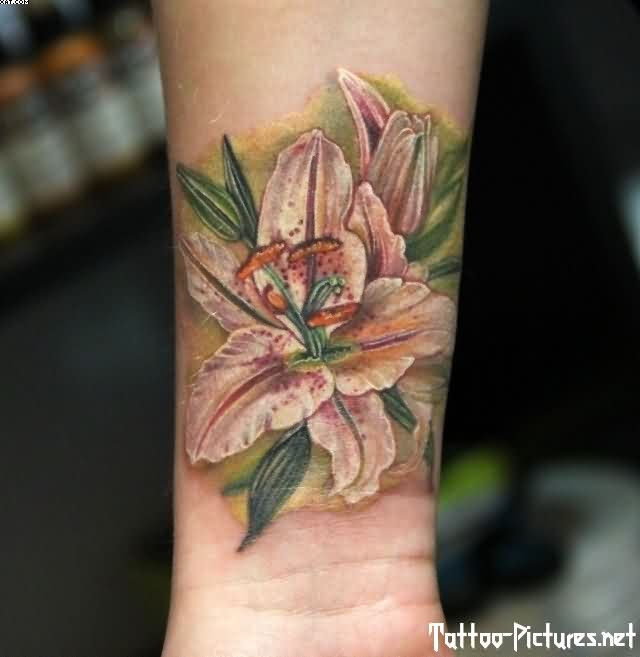 Lily Flower Tattoos On Wrist