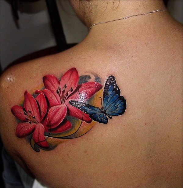 Realistic Flower Tattoo Designs: 43+ Lily With Butterfly Tattoos Ideas