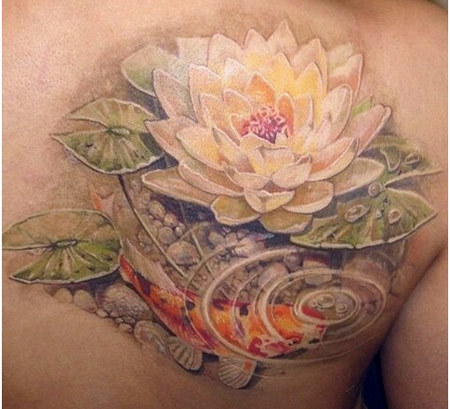 Realistic lotus flower in water with koi fish tattoo on right back realistic lotus flower in water with koi fish tattoo on right back shoulder mightylinksfo Choice Image