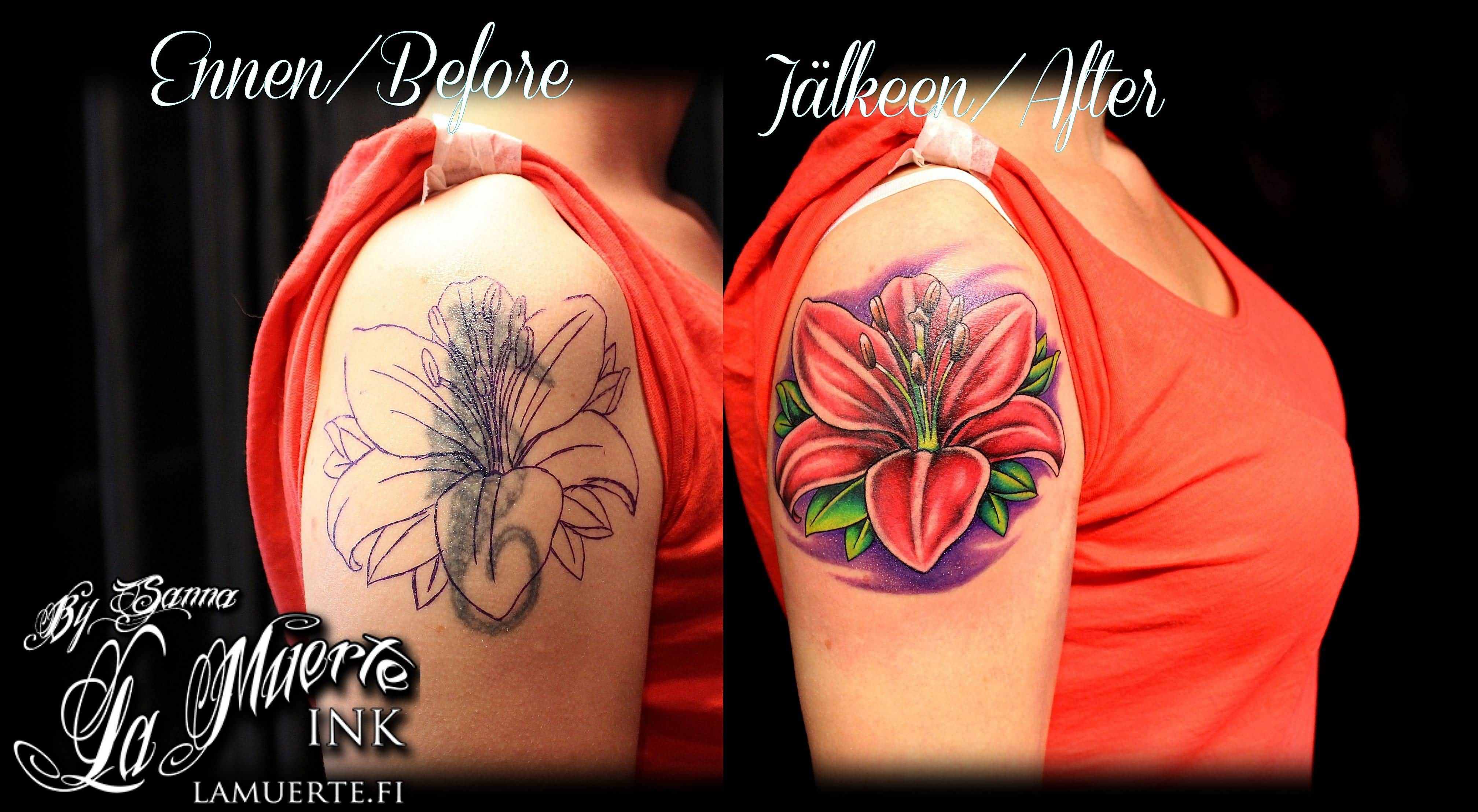 Red Ink Lily Flower Cover Up Tattoo On Girl Right Shoulder By Sanna ...