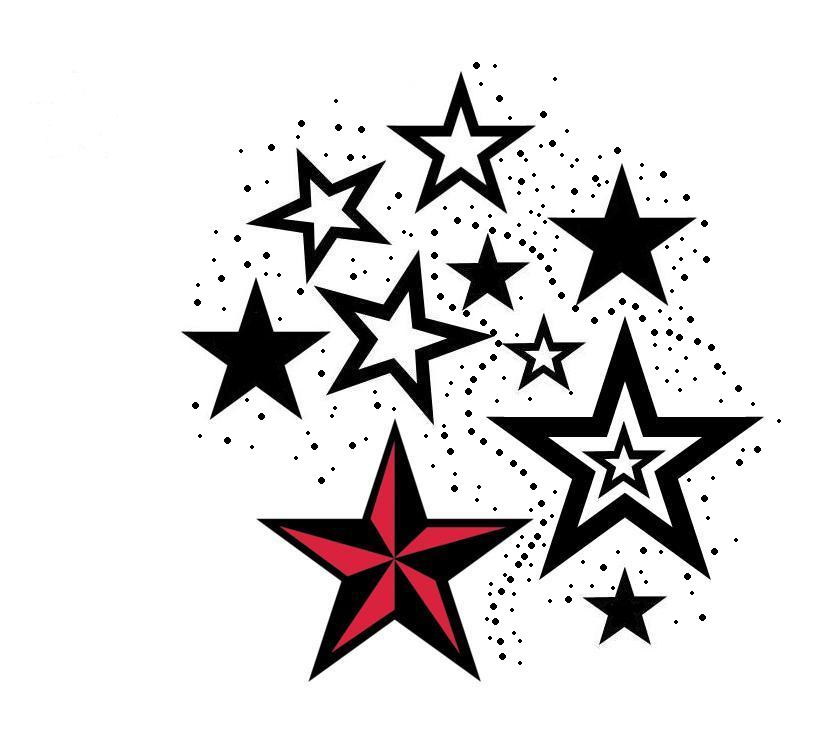 Colored Nautical Star Tattoo Idea