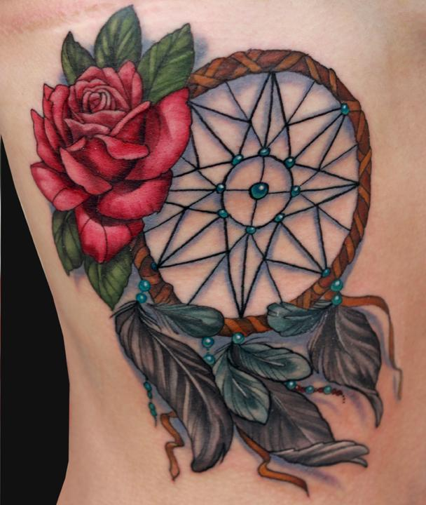 36 dreamcatcher with roses tattoos ideas for Red rose tattoo meaning