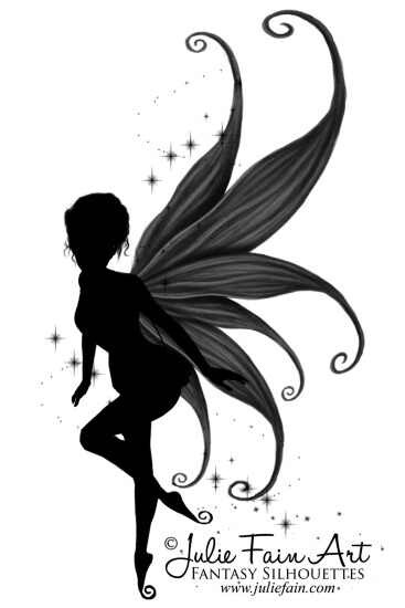 cool silhouette fairy with butterfly tattoo design by julie fain art. Black Bedroom Furniture Sets. Home Design Ideas
