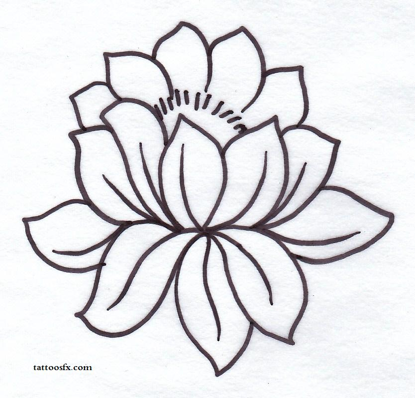 simple black outline lotus flower tattoo stencil