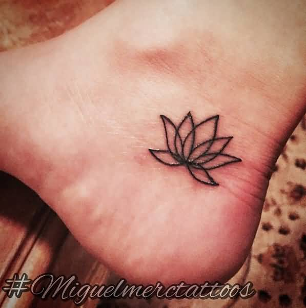 Simple Henna Lotus Tattoo Design For Ankle