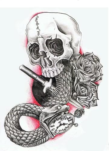 30 snake skull tattoos design. Black Bedroom Furniture Sets. Home Design Ideas