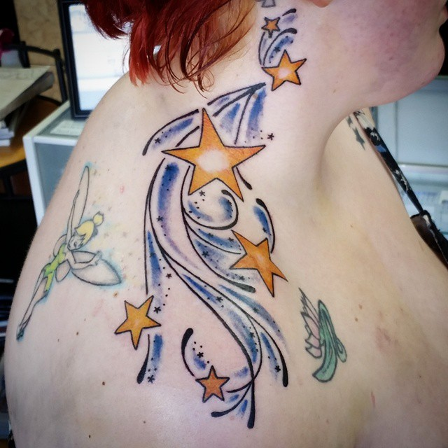 Star Tattoos On Girl Upper Shoulder