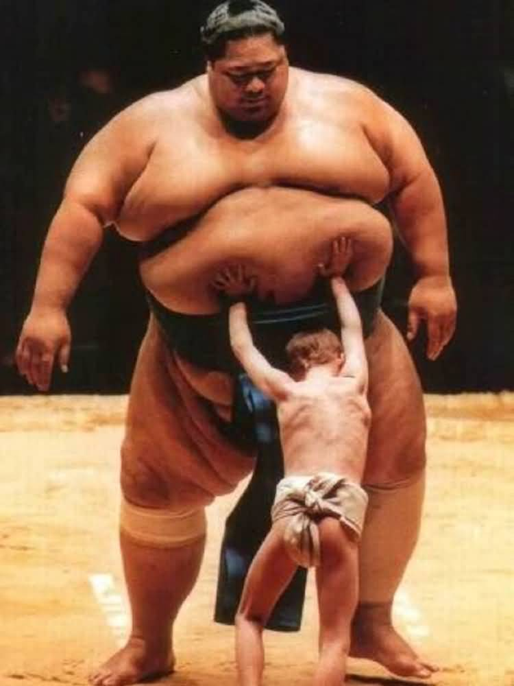 Sumo Fight With Kid Funny Sports Picture