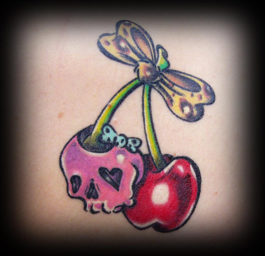 sweet skull and cherry skull tattoo by irreversibel. Black Bedroom Furniture Sets. Home Design Ideas