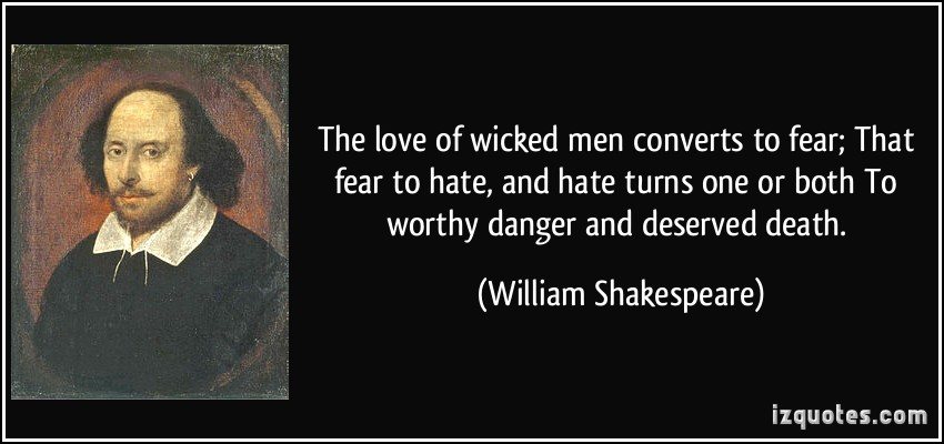 The Love Of Wicked Men Converts To Fear That Fear To And Turns One Or Both To Worthy Danger And Deserved Death William Shakespeare