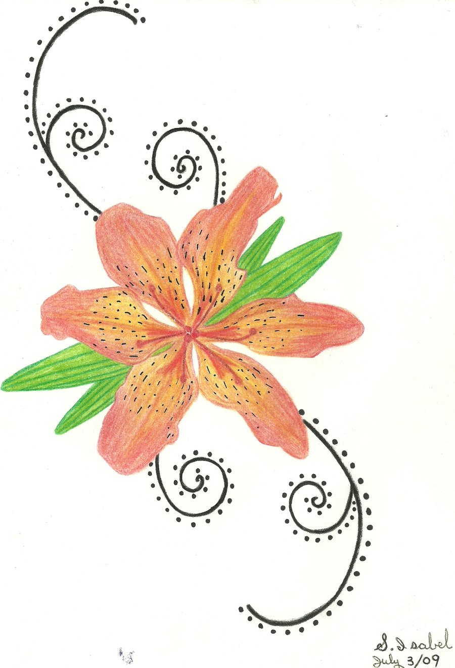 59 beautiful tiger lily tattoos ideas tiger lily tattoo design by isabel izmirmasajfo Choice Image