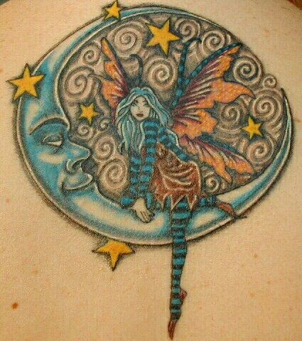 39 fairy tattoos with moon for Traditional moon tattoo