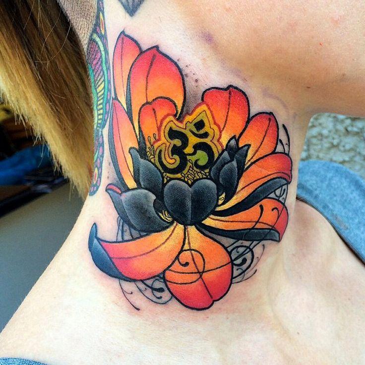 38 lotus tattoos for neck. Black Bedroom Furniture Sets. Home Design Ideas