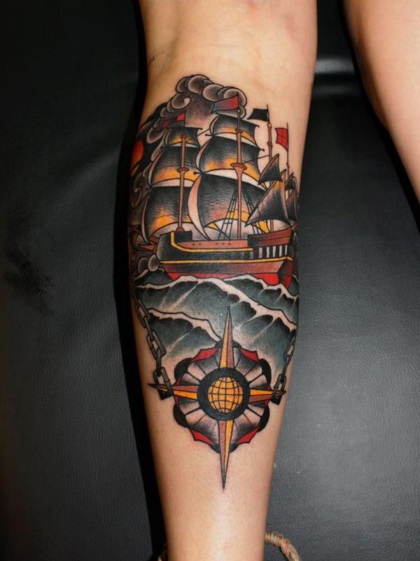 traditional pirate ship tattoo on left leg calf. Black Bedroom Furniture Sets. Home Design Ideas