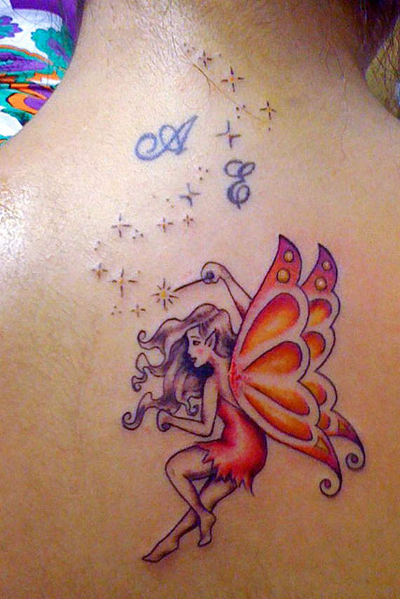 0a7bff16b5191 Traditional Small Fairy Tattoo On Upper Back