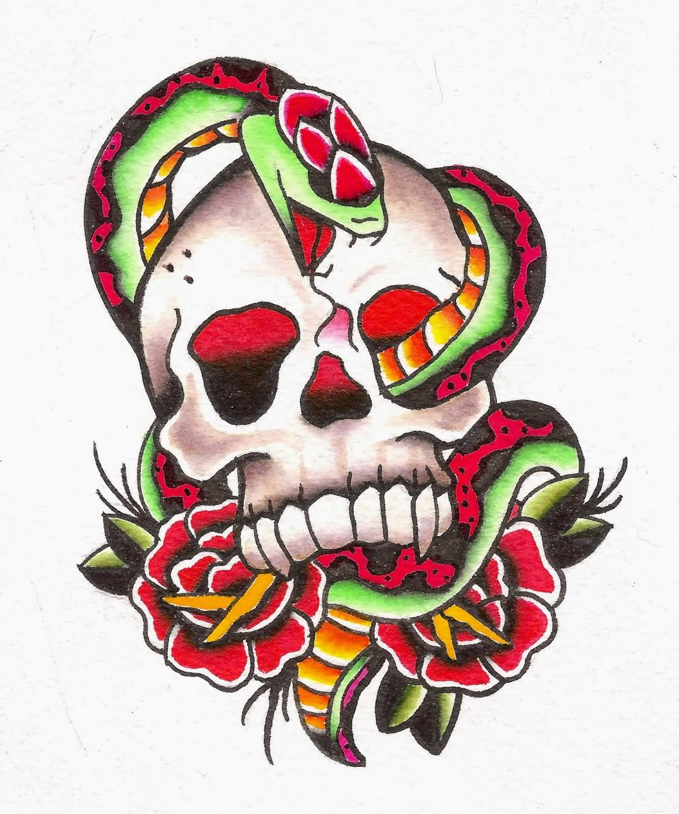 Traditional Snake With Skull And Roses Tattoo Design