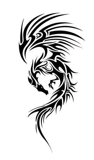 Tribal Black Dragon Tattoo Design