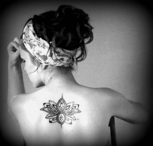 Lotus tattoo inspiration pictures on skin thinkin skin unique black and grey lotus flower tattoo on female upper back mightylinksfo