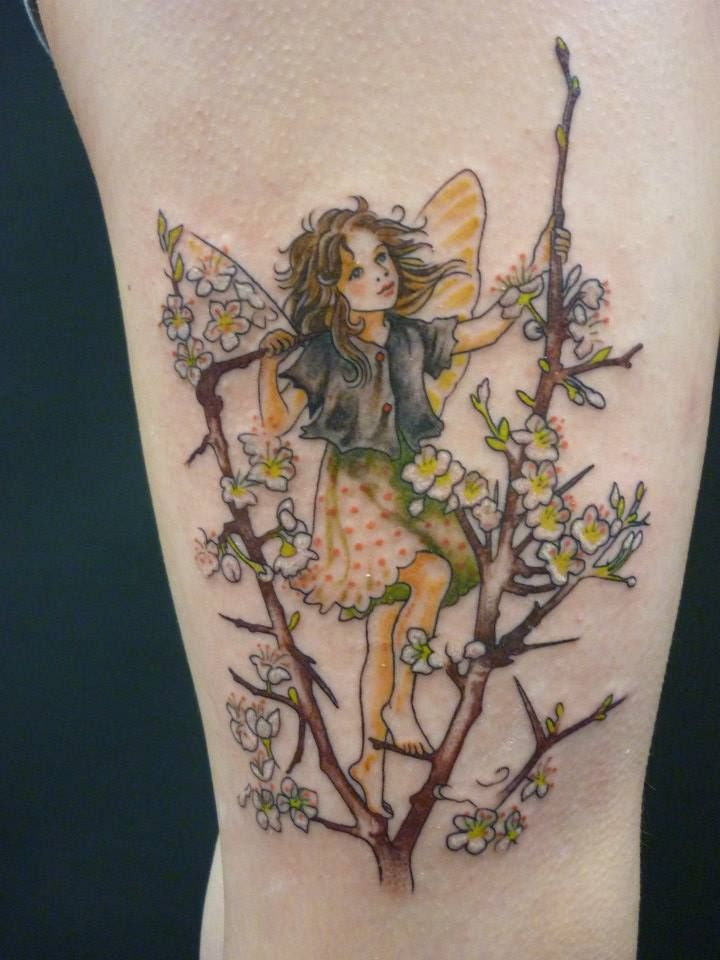 47+ Fairy With Flowers Tattoos Ideas