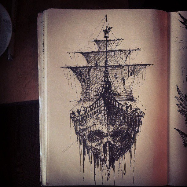 Black Outline Pirate Ship With Octopus Tattoo Design