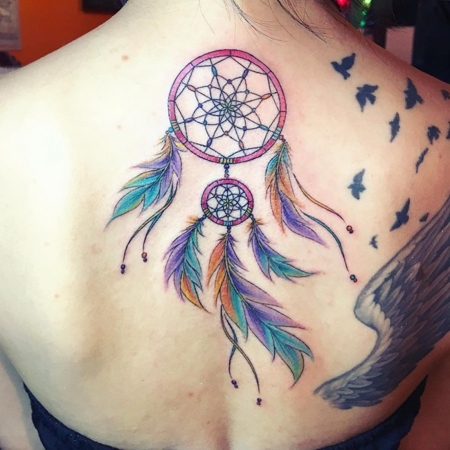 60 best dreamcatcher tattoos ideas for Watercolor dreamcatcher tattoo