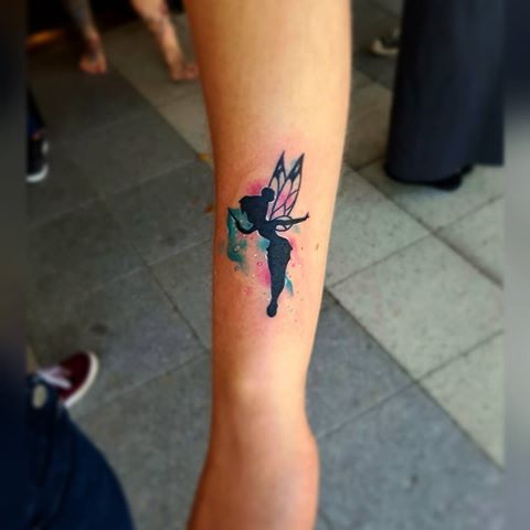 Watercolor Fairy With Fairy Dust Tattoo On Sleeve