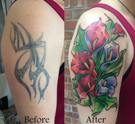 Watercolor Lily Cover Up Tattoo On Women Right Half Sleeve