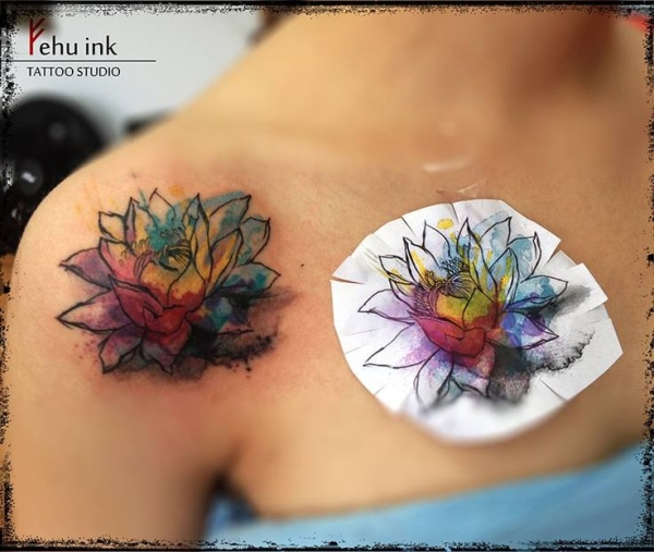 49+ Watercolor Lotus Tattoos Ideas